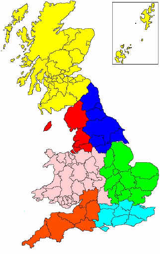 Map of Fell Pony Society Area Support Groups in the United Kingdom. [Select an area to find out more about what is going on with that Area Support Group]